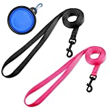DOYOO 2 Pack Puppy Dog Leash Cat Leash, Strong and Durable Leash with Easy to Use Collar Hook - Dog Leashes for Cat with Collapsible Pet Bowl Great for Small and Medium Dog (Set 2-Black+Pink)