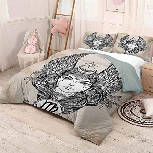 Luoiaax Zodiac 3-Pack (1 Duvet Cover and 2 Pillowcases) Bedding Astrological Icon with Girl Earth Element in Female Form Spiritual Graphic Design Polyester (King) Tan Black