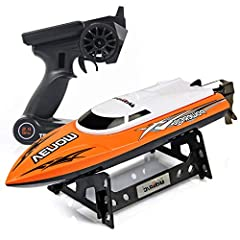 2.4 GHZ High Speed: 2.4 GHZ frequency controller supports multiple rc boats to race synchronously! The max speed up to 15 MPH(25km/h) allow you blow other remote control boats out of the water! Ideal rc racing ship toys for Pool and Outdoor! Capsize ...