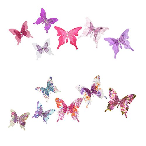Roser Life Craft Butterflies⎮Decorative Artificial Butterfly Clips⎮Silk Fabric Butterfly Decorations⎮Floral Butterflies⎮Handmade Vintage Ornament⎮Party Garden Outdoor Decor Purple Pink (Pack of 12)