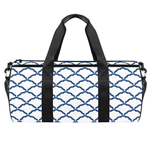 Bolsa de viaje cilíndrica con bolsillo mojado, ligera, con patrón geométrico azul japonés, con correa para el hombro, para hombres y mujeres