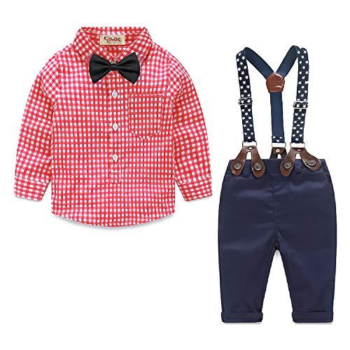 Yilaku Babystrampler Jungen Bekleidung Set Hemd Hose mit Hosenträger Langarm Karierte Hemd mit Fliege Latzhosen 4 Teiliges Baby Set (Rot, 9-12 Monate)
