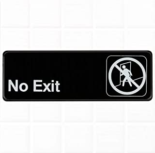 No Exit Sign - Black and White, 9 x 3-inches No Exit Sign for Door/Wall by Tezzorio