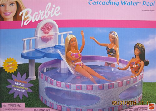 Barbie CASCADING WATER POOL Playset w FOUNTAIN, DECK & SLIDE (2001)