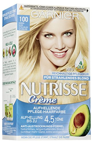 Garnier Nutrisse Creme Coloration Sommer-Blond 100 / Färbung für Haare für permanente Haarfarbe (mit 3 nährenden Ölen), 3er Pack