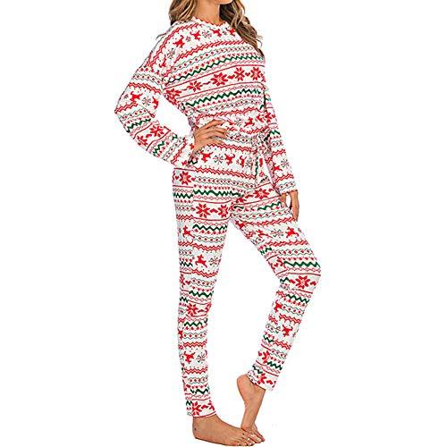 N\P Damen Trainingsanzug Weihnachten Kostüm Winter Top Hosen Anzug Bedruckt Langarm...