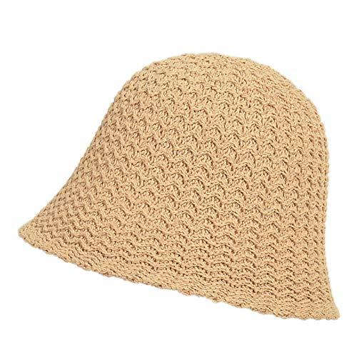 Sun Hats for Women Foldable Short Brim Floppy Straw Hat, Hand Woven Sun Hat UV Protection Beach Accessories,khaki