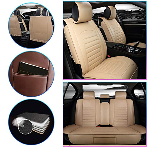 Car Seat Cover for Buick Excelle ExcelleXT ExcelleGT Front+Rear Seats Protector Covers Waterproof Soft PU Leather Cushion 5-Seat Universal Pad Beige Standard 5PCS