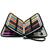 YOUSHARES 120 Slots Pencil Case - PU Leather Handy Multi-Layer Large Zipper Pen Bag with Handle Strap for Prismacolor Watercolor Pencils, Crayola Colored Pencils, Marco Pens and Makeup Brush (Black)