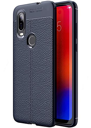 Golden Sand Compatible with Motorola One Vision Back Cover Shock Proof Armor Leather Texture TPU Bumper Case Blue (Moto One Vision Mobile Phone)