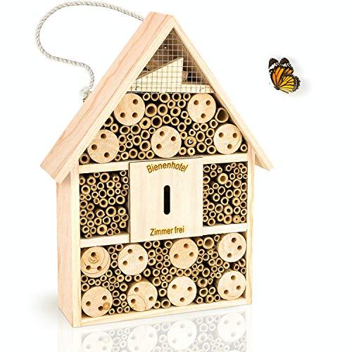 deinTierhaus | Hotel de insectos hecho de materiales naturales - Caja nido y refugio para abejas y otros especies|Casita de bambú y madera28,5x9x39cm- Protección de insectos en tu hogar