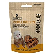 NATURAL EATS *NEW* 3 X 50G CHICKEN & LIVER FERRET BITES REAL MEAT TREATS 60460