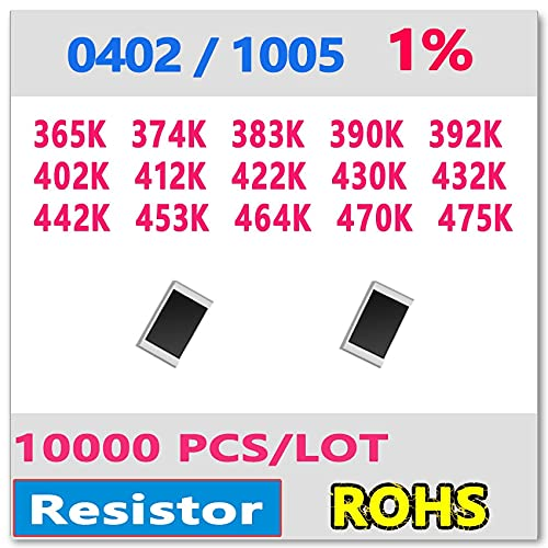 Davitu Electronics Video Games Replacement Parts - JASNPROSMA OHM 0402 F 1% 10000pcs 365K 374K 383K 390K 392K 402K 412K 422K 430K 432K 442K 453K 464K 470K 475K smd 1005 390kohm - (Color: 0402 F 392K)