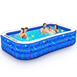 Inflatable Swimming Pool, 118' X 72' X 22' Full-Sized Family Lounge Pool for Kids Adults Baby Children, Thick Wear-Resistant Blow Up Kiddie Pools for Outdoor Garden Backyard Summer Water Party