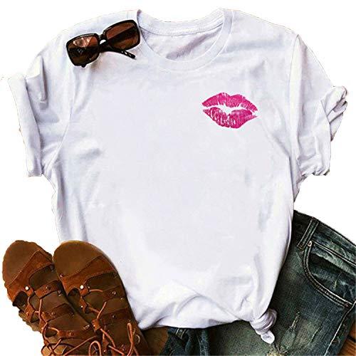 Red Lip Tshirts Women Harajuku Ullzang Kawaii T-Shirt Summer Femme Tshirt Fashion Short Sleeves Tops Tees Female T Shirt-24611-XXL