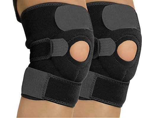 HTKJ 2x Kniebandage Sportbandage Knieschoner Verstellbar Kniegelenkstütze Atmungsaktiver Knieorthese Antirutsch