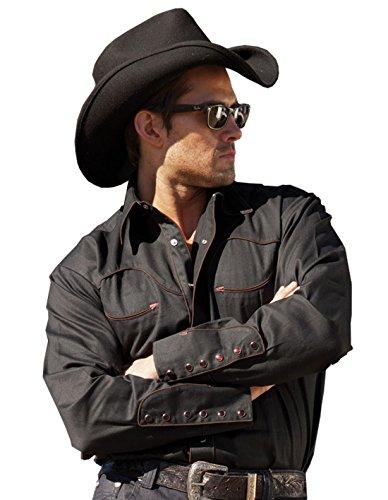 Westernwear-Shop Stars & Stripes Chemise western Jack Black Edition pour homme avec col et pochette en velours Noir - Noir - XL