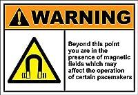 この点を超えてあなたは磁気の中にいます メタルポスタレトロなポスタ安全標識壁パネル ティンサイン注意看板壁掛けプレート警告サイン絵図ショップ食料品ショッピングモールパーキングバークラブカフェレストラントイレ公共の場ギフト