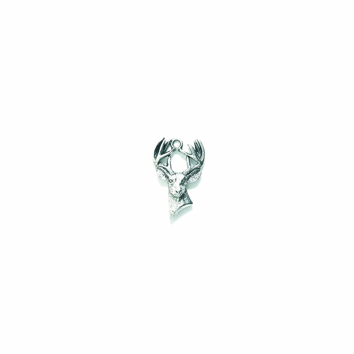 Shipwreck Beads Pewter Buck Deer Head Charm, Silver, 15 by 22mm, 4-Piece