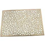 "Uniturcky Washable (13"" x 19"") Placemats Set of 6, Gold Metallic Vinyl Round Placemats 6 Pack Pressed Vinyl Metallic Placemats/Wedding Accent Centerpiece Placemat (Rectangle Gold Leaf,6 Pcs)"