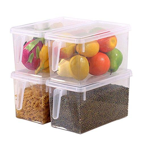 HapiLeap Kühlschrank Organizer Küche Frischhaltedose mit Deckel und Griff (4 Pack)