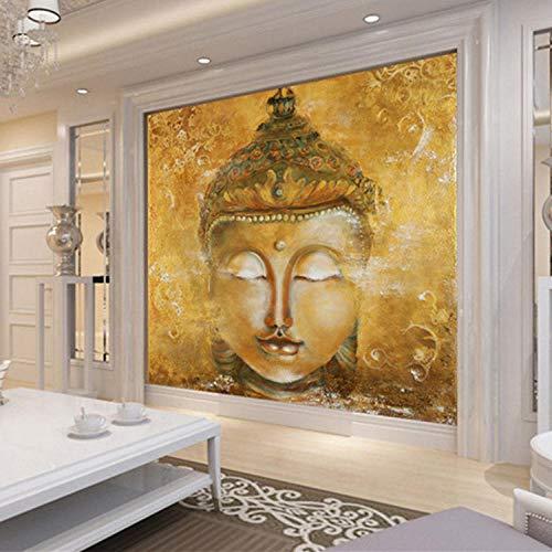 NIdezuiai Wandbild,Anpassen Von 4D-Tapeten Vintage Golden Buddha Kopf Kreativ-Serie Hd-Kunst Drucken Wandmalerei Poster Bild Große Seide Wandbild Für Wohnzimmer Schlafzimmer Home Decor