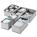 mDesign boîte de rangement en tissu (set de 5) pour la chambre d'enfant – panier de rangement pour accessoires de bébé et de couches – rangement jouet – plusieurs compartiments – gris