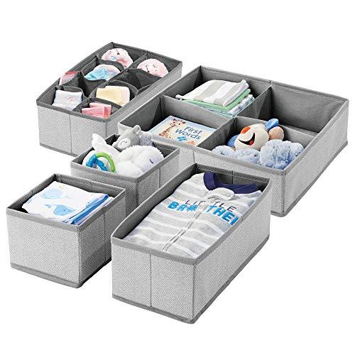 mDesign 5er-Set Kinderzimmer Aufbewahrungsbox im Fischgrätenmuster – Stoffboxen mit mehreren Fächern für Babysachen – Aufbewahrungsboxen aus Stoff für die Schublade oder den Schrank – grau