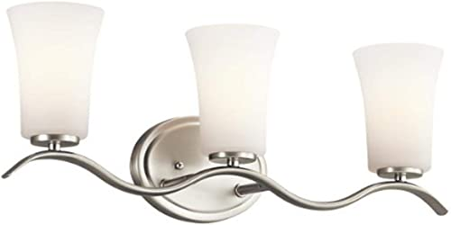 """Armida 23"""" 3 Light Vanity Light with Satin Etched White Glass in Brushed Nickel"""