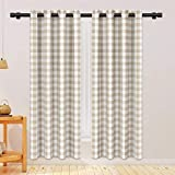 NATUS WEAVER Buffalo Check Cotton Curtains 84 inch Length Kitchen Living Room Bedroom Beige and White Gingham Plaid Window Curtain Panels Basement Drapes 2 Panels Grommet Top Window Treatment Set
