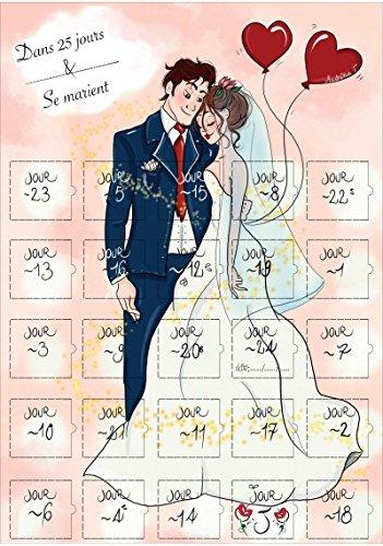 Le calendrier compte à rebours pour invitation à un mariage