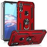Moto E 2020 case,Motorola E case,with HD Screen Protector, YZOK [Military Grade] Ring Car Mount Kickstand Hybrid Hard PC Soft TPU Shockproof Protective Case for Motorola Moto E (Red)