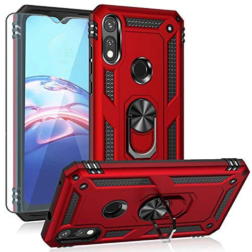Moto E 2020 case,Motorola E case,with HD Screen Protector, YZOK [Military Grade] Ring Car Mount Kickstand Hybrid Hard PC Soft TPU Shockproof...