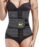 LAZAWG Waist Trainer for Women Sweat Sauna Waist Cincher Trimmer Tummy Control Shaper Belts Sport Girdle for Workout Weight Loss Grey