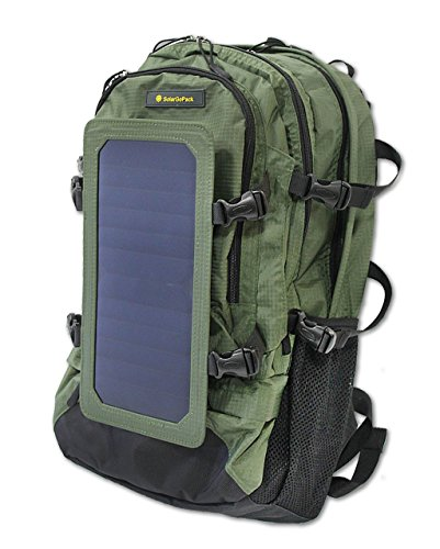 SolarGoPack Solar Powered Backpack / 7 Watt Solar Panel and 10K mAh Charging Battery Daypack/Phone and Electronic Device Power Charger Back Pack/Army Green