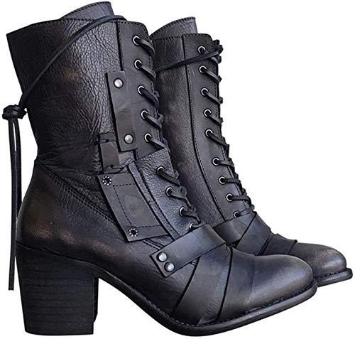 ausuky Damen Chunky Plateau Stiefeletten Schnürschuhe Punk Gothic Icon Retro Schuhe, Schwarz , 43 eu
