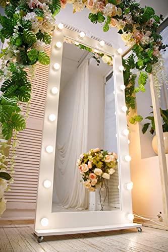Espejo de Pie con Luz LED 80X180 con una Base de Ruedas, Vintage, Espejo con Luz, Espejo de Pared, Espejo Maquillaje con Luz,...