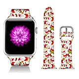 FTFCASE Sport Bands Compatible with iWatch 38mm/40mm Santa Claus Gift, Flower Printed Soft Silicone Strap Replacement for iWatch 38mm/40mm Series 5/4/3/2/1