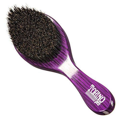 Torino Pro Wave Brush #600 By Brush King - Medium Hard Curve 360 Waves Brush - Made with Reinforced Boar & Nylon Bristles - A True Texture Medium Hard (360 Waves Brushes)