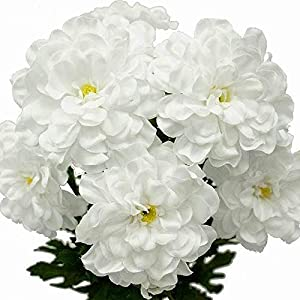 BalsaCircle 4 White California Zinnia Flowers – 4 Bushes – Artificial Wedding Party Centerpieces Arrangements Bouquets Supplies