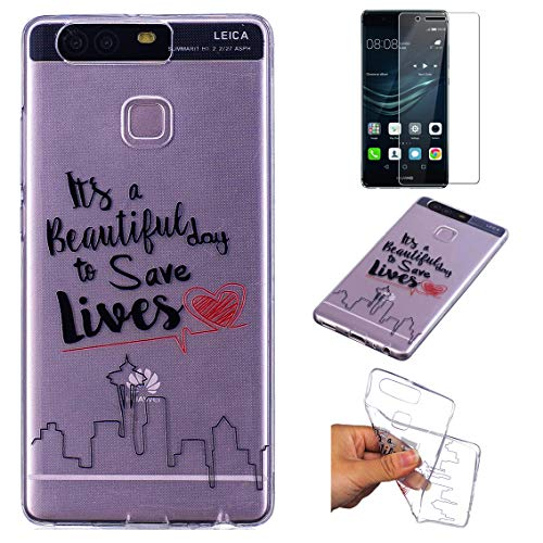 Funda Huawei P9 Silicona Transparente,QFUN Suave Carcasa Flexible con Dibujos [Ciudad Frases] Ultra Slim Fina Gel TPU Bumper Case Anti-rasguños Antigolpes Cubierta y Protector Pantalla para Huawei P9