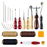 CO-Z Leather Craft Tools, 20pcs Hand Leather Stitching Kit for DIY Craft Repair, Leather Working Tools with...