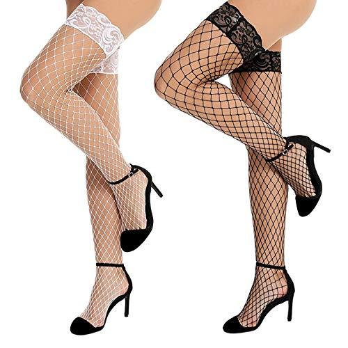 Sirecal 2 Paia Calze Autoreggenti Sexy Collant a Rete Donna Elastico Calze Pantyhose Antiscivolo Silicone Hold Up Stockings Bianco + Nero