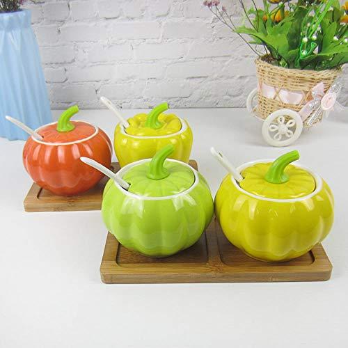 Spice Box Spice Jar kookpot vaas keramische drie distributeurs kruidenzout peper acties kluis chili olie schotel,B