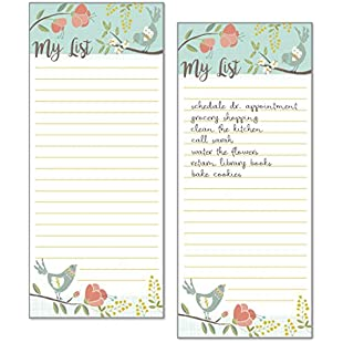 Set of 2- Birds and Blossoms List Pad, Notepad, Shopping List with Attachable Magnet:Elektrikmalzemeleri