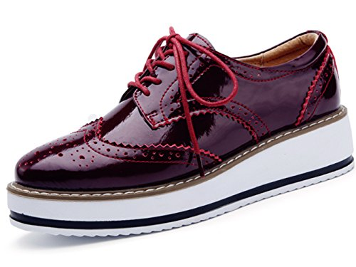 DADAWEN Women's Platform Lace-Up Wingtips Square Toe Oxfords Shoe Red US Size 5/Asia Size 35/22.5cm