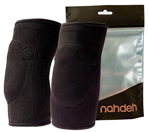nahdeh Gelbow Pads - 100% Silicone Gel Elbow Pads - 2 Styles - Regular and Thick - Extreme Protection … (Black, Medium)