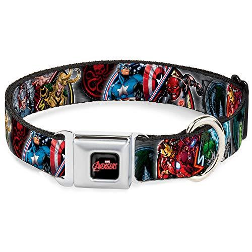 Buckle-Down Seatbelt Buckle Dog Collar - Marvel Avengers Superhero/Villain Poses - 1' Wide - Fits 15-26' Neck - Large