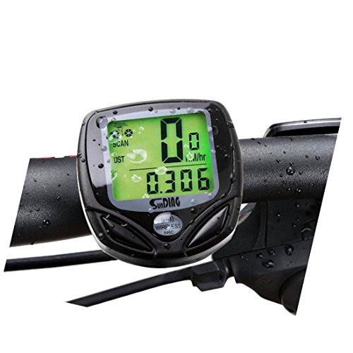 Der sportliche, kabellose Tachometer Suparee für die Fahrräder mit dem LCD Display für die Anhänger der zwei Räder (schwarz).