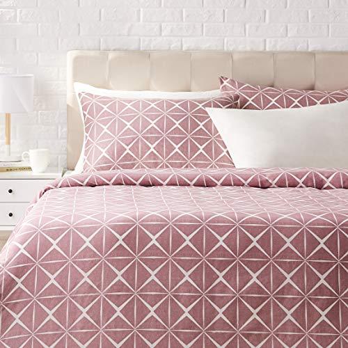 AmazonBasics - Juego de ropa de cama con funda de edredón, de satén, 230 x 220 cm / 50 x 80 cm x 2, Malva cuarzo